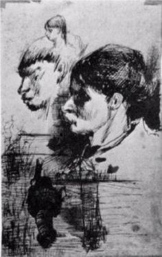 Sketches of Heads - Vincent van Gogh