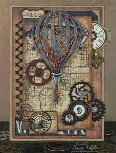 Steampunk birthday card by Tracey Sabella for Leaky Shed Studio.