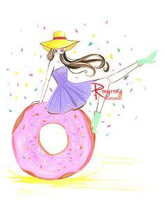 Fashion illustration,Donut illustration,Fashion girl and donut,Fashion wall art,Fashion sketch,Fashion print, titled, Eat donut and be fab