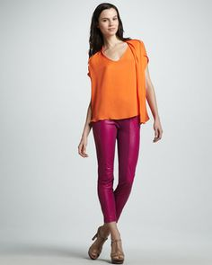 Flowy Boxy Blouse & Slim Ponte/Leather Pants by Halston Heritage at Neiman Marcus.