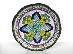 Vintage Talavera Mexican Pottery Dish, Colorful Talavera Tray, Mexican Folk Art Wall Hanging by HerVintageCrush on Etsy