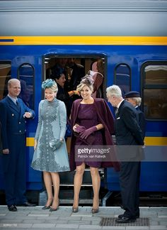 Queen Mathilde of Belgium (L) and Queen Maxima of the Netherlands visit the new Utrecht Central station and travel by Dutch Royal Train on November 30, 2016 in Utrecht, Netherlands. (Photo by Patrick van Katwijk/Getty Images)