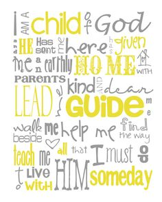 I Am a Child of God Nursery Subway Art Digital por MyPoshDesigns