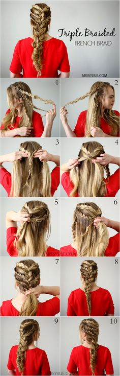 """This hairstyle definitely falls into the """"bohemian/mermaid"""" category. It's similar to the Half Up Mermaid Braids and the Braid Embellished Bohemian Fishtail! This look is made with several different b"""