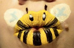 Paige Thompson creates wonderful art by painting cute animals on her lips.