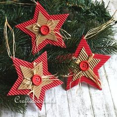 Over 20 handmade cardboard Christmas trinkets! - Over 20 handmade cardboard Christmas trinkets! Handmade Christmas Decorations, Christmas Ornaments To Make, Christmas Crafts For Kids, Xmas Crafts, How To Make Ornaments, Christmas Projects, Christmas Tree Decorations, Christmas Diy, Handmade Ornaments