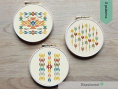Set of 3 native cross stitch patterns, will make a great combination together Each pattern fits nicely a 8 inch embroidery hoop.  The pattern comes as