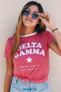 All Star Tee for Delta Gamma, only at The Social Life Sorority Shirt Designs, Sorority Shirts, Sorority Canvas, Sorority Paddles, Sorority Crafts, Delta Gamma Shirts, Rho Gamma, Sorority Recruitment Outfits, Cheer Shirts