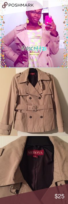 Merona Khaki Trench Coat 🧥 This jacket is perfect for mild weather! Classic tan trench coat makes for the perfect layering piece. Soft, cotton-blend construction is water-resistant for rainy days. Adjustable belt with 4 notches and silver accents creates a flattering fit. Light and fresh material of 55% polyester/ 45% cotton (shell) 100% polyester for the lining in dark brown. Has 4 functioning brown buttons and 1 clear inside button. Hemline rests on the hips. Minor signs of wear. Polka…