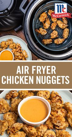 Skip the fast food with these crispy Air Fryer Chicken Nuggets with Dipping Sauce. This easy air fryer recipe is perfect for beginners with only a few simple ingredients and 15 minutes of prep time. Our favorite part? The kick of flavor from our garlic, o Air Fryer Dinner Recipes, Air Fryer Oven Recipes, Appetizer Recipes, Appetizers, Crockpot Recipes, Cooking Recipes, Air Frier Recipes, Air Fried Food, Chicken Nuggets