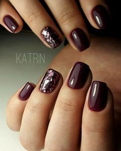 117 creative winter nail designs best patterns in 2019 23 - Nageldesign - Nails Shiny Nails, Chrome Nails, Dark Nails With Glitter, Deep Red Nails, Dark Color Nails, Dark Purple Nails, Sparkle Nails, Silver Nails, Trendy Nails