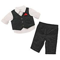 Koala Baby Boutique Boys 3 Piece White Button Down Shirt, Black Vest and Matching Pant Set
