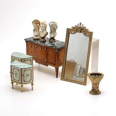 Collection of French Style Doll House Furniture: including Herbillon