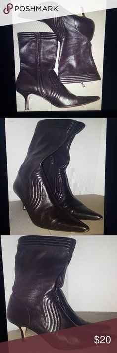 Max studio leather boots size 8 M Max studio leather boots Brown Point toe 3 inch heel Size 8 M Max Studio Shoes Heels