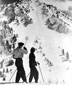 Alta, vintage photo from the Utah State Historical Society. A skier points out the figure recently carved into the snow on Rustler's Mountain Ski Vintage, Vintage Ski Posters, Vintage Winter, Alpine Skiing, Snow Skiing, Ski Ski, Photo Ski, Photo Deco, Ski And Snowboard