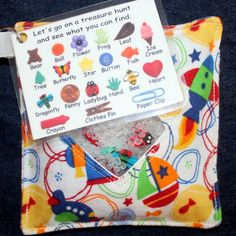 I Spy Bag -- i like the picture and word key for little ones who can't read yet