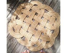 Jute Cord Rope Ocean Plait Rug Oval 18 x 30 by byCamilleDesigns