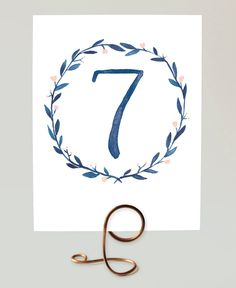 Printable Table Numbers -  Watercolor Wreath in Blue  - Numbers 1-15 - Navy Blue Wedding Table Numbers, Laurel Wreath Table Numbers by LeveretPaperie on Etsy https://www.etsy.com/listing/165725960/printable-table-numbers-watercolor