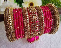 Kundan Bangles, Silk Bangles, Bridal Bangles, Jewelry Design Earrings, Gold Earrings Designs, Fancy Jewellery, Thread Jewellery, Indian Bridal Jewelry Sets, Bridal Jewellery