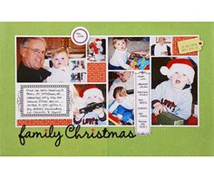 Family Christmas Scrapbook Layout                    Melissa used the same digital photo template on both pages of her two-page scrapbook layout, rotating the template to create the collage on the right-hand side. Sticking with the same template keeps the design neat, while rotating it allows for more flexibility in photo size and orientation.                      Editor's Tip: Unite the pages of your spread with a title that spans both pages. Melissa used a mar