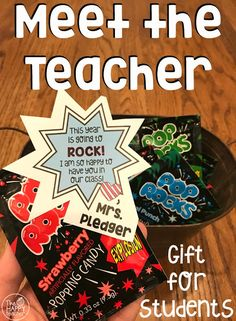 """Give students a sweet treat when they come to Meet the Teacher. I love this POP ROCKS gift tag, """"This year is going to ROCK! I am so happy to have you in our class!"""""""