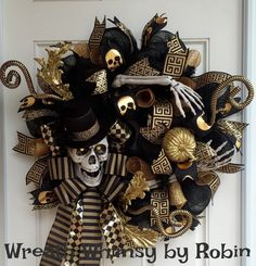 Halloween Skeleton Black & Gold Deco Mesh Wreath, Skeleton Wreath, Front Door Wreath, Fall Wreath, Halloween Decor by WreathWhimsybyRobin on Etsy