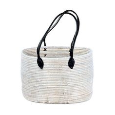 Storage Basket with Leather Handles - White