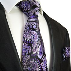 Purple and Black Paisley Necktie and Pocket Square by Paul Malone . 100Silk (552H)
