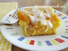 Peach Cobbler Cake from The Country Cook. Cake mix, Peach Cobbler Pie Filling, easy, dessert, country, southern, peach cobbler