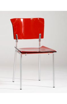 Chintaly Imports Red Contemporary Acrylic Arm Side Chair Red (Sets of 2)