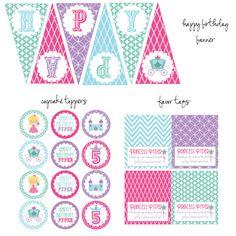 Princess Birthday Party Kit, Princess Cupcake Toppers, Princess Favor Tags, Princess Bottle Wrappers, Princess Happy Birthday Pennant Banner