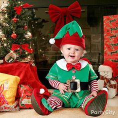 Santa's littlest elf! A comfy kids Christmas costume is just right for holiday photos and videos. Click for more ideas from Party City.
