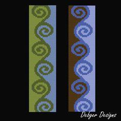 Sea Curls Loom Bracelet Cuff Pattern van LoomTomb op Etsy