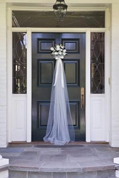 engagement party ideas decorations Front door greeting for a bridal shower that takes its inspiration from the bridal veil. See more bridal shower decorations and party ideas at Bridesmaid Brunch, Bridesmaids, Bridesmaid Duties, Bridal Shower Party, Wedding Showers, Bridal Luncheon, Bridal Shower Chair, Wedding Parties, Bridal Shower Sayings