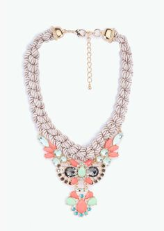 Ropped  statement necklace in beige and coloured rhinestones.