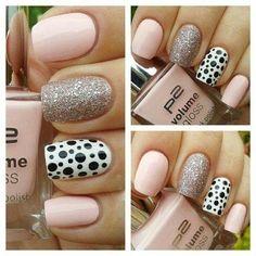 Bright gel polish, Everyday nails, Pattern nails, Pink gel polish, Pink polka dot nails, Polka dot nails, ring finger nails, Silver nails