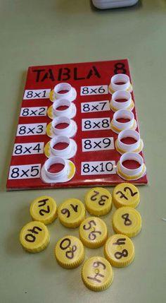 Tabla de multiplicar hecha con tapones