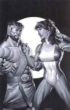 Hercules & She-Hulk, art by Chris Stevens