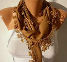 CAMEL SCARF    PASHMINA SCARF   HEADBAND NECKLACE COWL BY FATWOMAN, $13.50