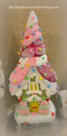 Christmas Candy Polyfoam House 39 inches with Gumdrop Trees and Roof