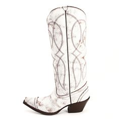 Picture yourself walking down the aisle in this Tony Lama! This women's boot features a distressed white leather foot accented with a wing tip. Western Store, Western Wear, White Cowgirl Boots, Wedding Boots, Stylish Boots, Diva Fashion, Style Fashion, Glass Slipper, Cool Boots