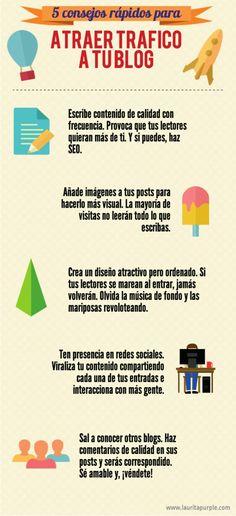 5 consejos rápidos para atraer tráfico a tu blog @lauritapurple #infografia #infographic #marketing
