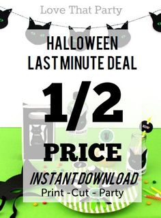 Cute and not too scary. Instant download DIY halloween Decorations! HALLOWEEN DECORATIONS, Black CAT, Half Price Instant Download, Printable Halloween Decorations, Kids Halloween Party Supplies, diy You Print by LoveThatPartyInvites on Etsy