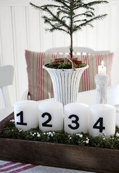 Candles with Black Numbers (Advent idea), Dining Room. White, Black, Rustic, Shabby Chic, Swedish decor Idea. ***Pinned by oldattic ***.