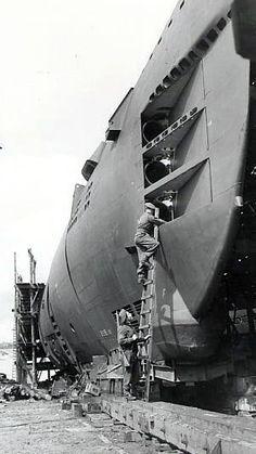 U-3060 on the slipway number 4. AG Weser Bremen
