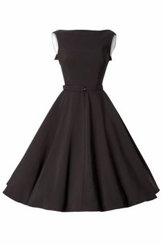 Bettie Page Clothing - Jazmin circle Black Swing dress with folded back