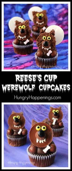 Reese's Cup Werewolf Cupcakes are quick and easy treats to make for Halloween and they are so cute. Reese's Cup Werewolf Cupcakes are quick and easy treats to make for Halloween and they are so cute. Halloween Brownies, Halloween Donuts, Halloween Desserts, Spooky Halloween, Recetas Halloween, Hallowen Food, Halloween Goodies, Halloween Food For Party, Holidays Halloween