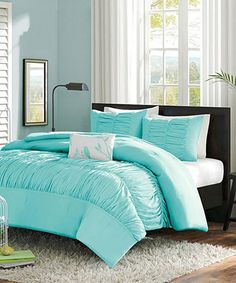 Light Blue Ruffle Chelsea Comforter Set