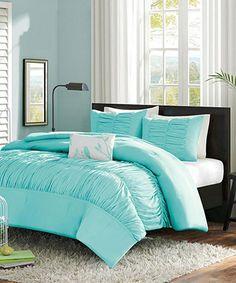 Light Blue Ruffle Chelsea Comforter Set