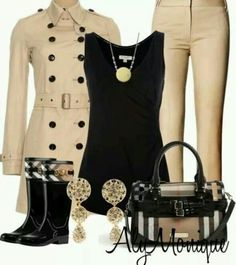 Cream black with boots